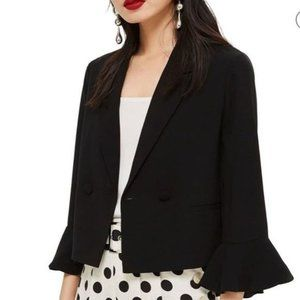 Topshop 12 Frill Sleeve Double Breasted Blazer